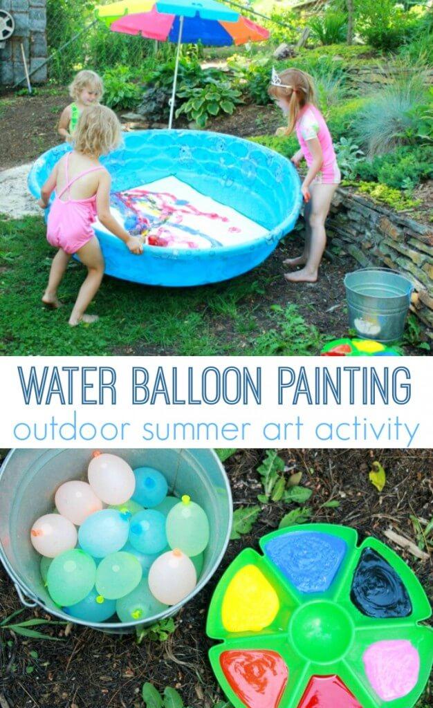 Malen mit Wasserballons -DIY Ideen mit Kleinkindern - Sommerspiele im Garten