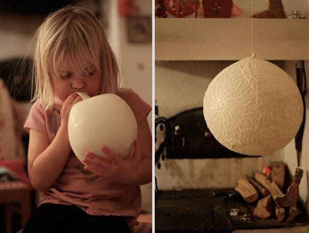 Dekolampe aus Spitze und einem Luftballon basteln