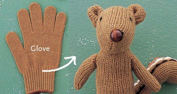 Streifenhörnchen Plüsstier selber basteln aus einem Handschuh