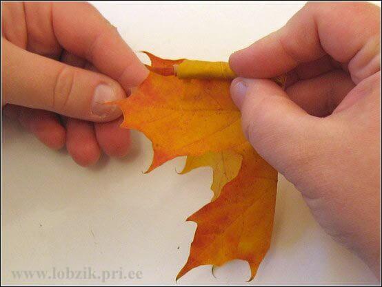 wundervoller Herbststrauß aus gertockneten Blättern