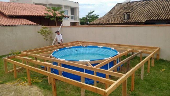 du musst keinen teuren pool kaufen wenn du handwerklich geschickt bist. Black Bedroom Furniture Sets. Home Design Ideas