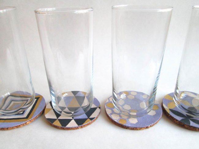 Glasunterlage DIY Geschenk Leder schöne Muster, DIY last minute Geschenkideen
