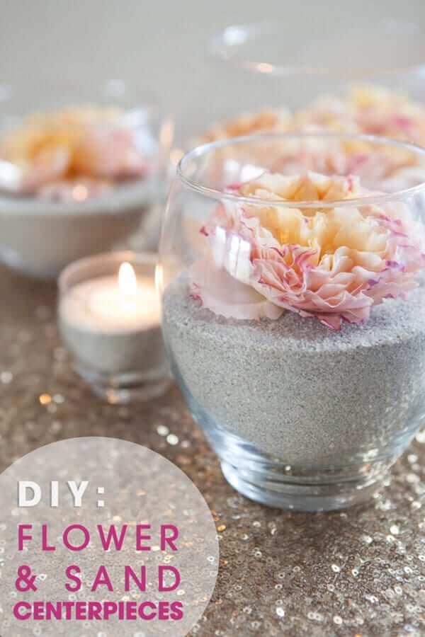 Sand und Blumen Kerzendeko für Hochzeiten