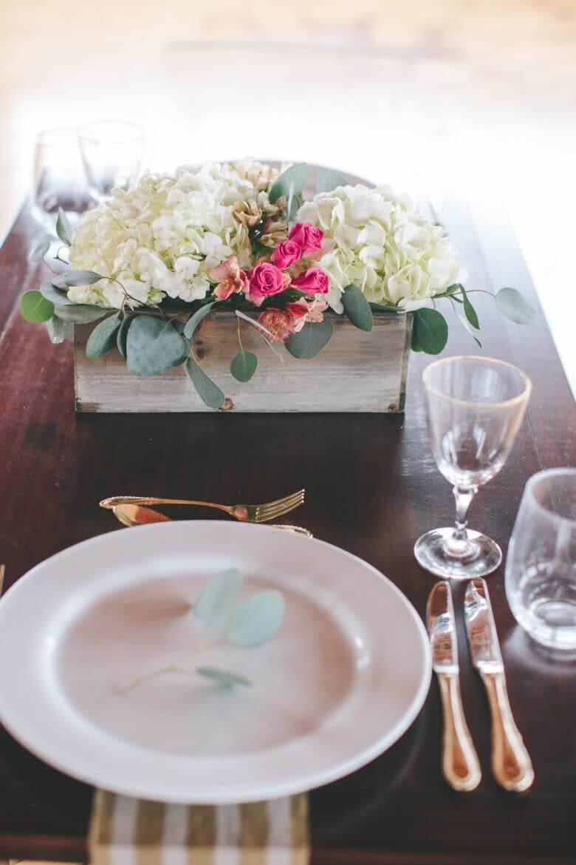 Hortensie Tischdeko Ideen- DIY Blumenkiste
