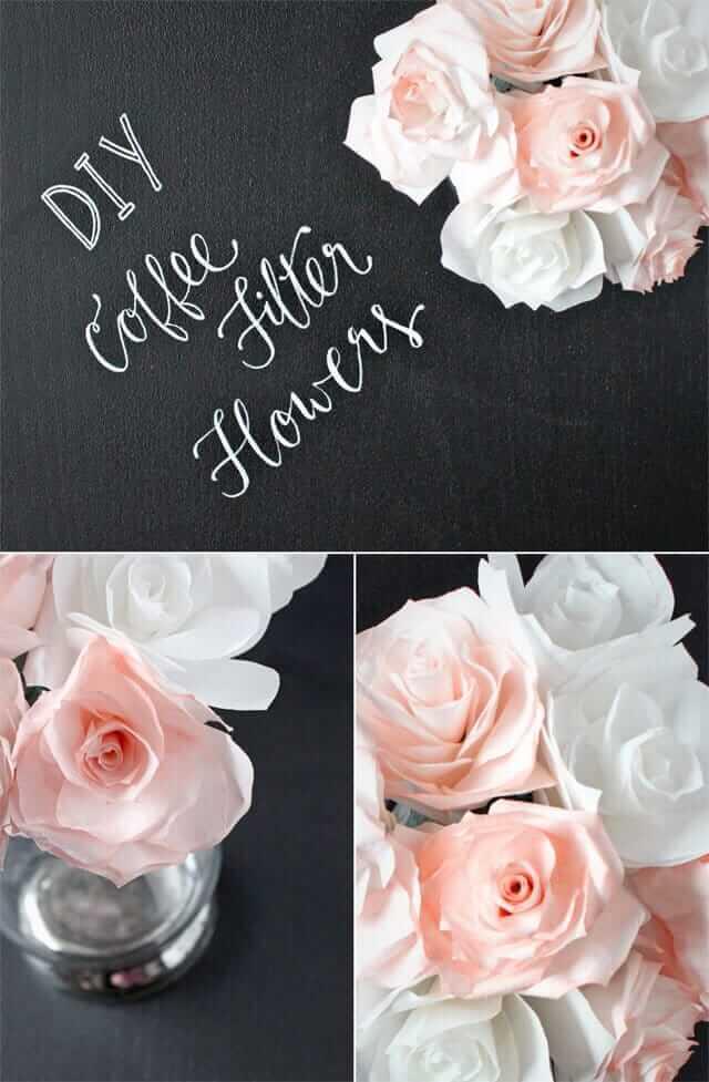 Rosen aus Kaffeefilter basteln - blumige Tischdeko basteln