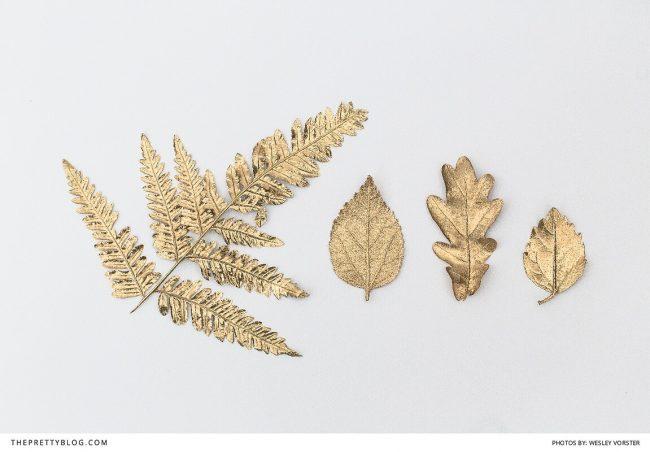 DIY Hochzeit-Ideen - Blätter mit Goldspray