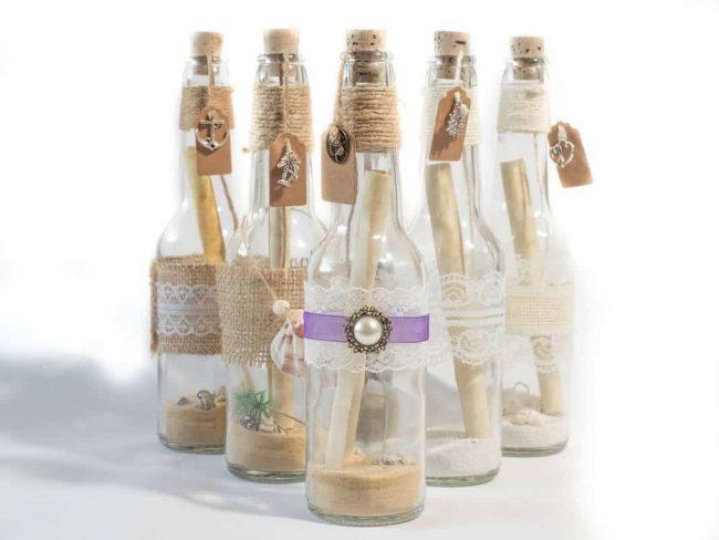 kreative Bastelideen - Flaschenpost zur Hochzeit