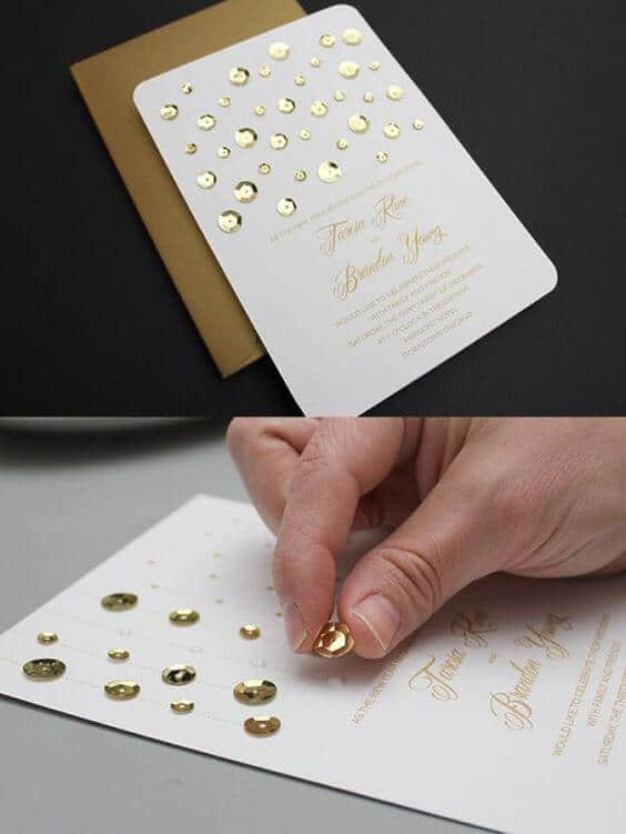 Glitzer Hochzeitseinladungen, Selbst gemachte Karten mit glänzenden Elementen