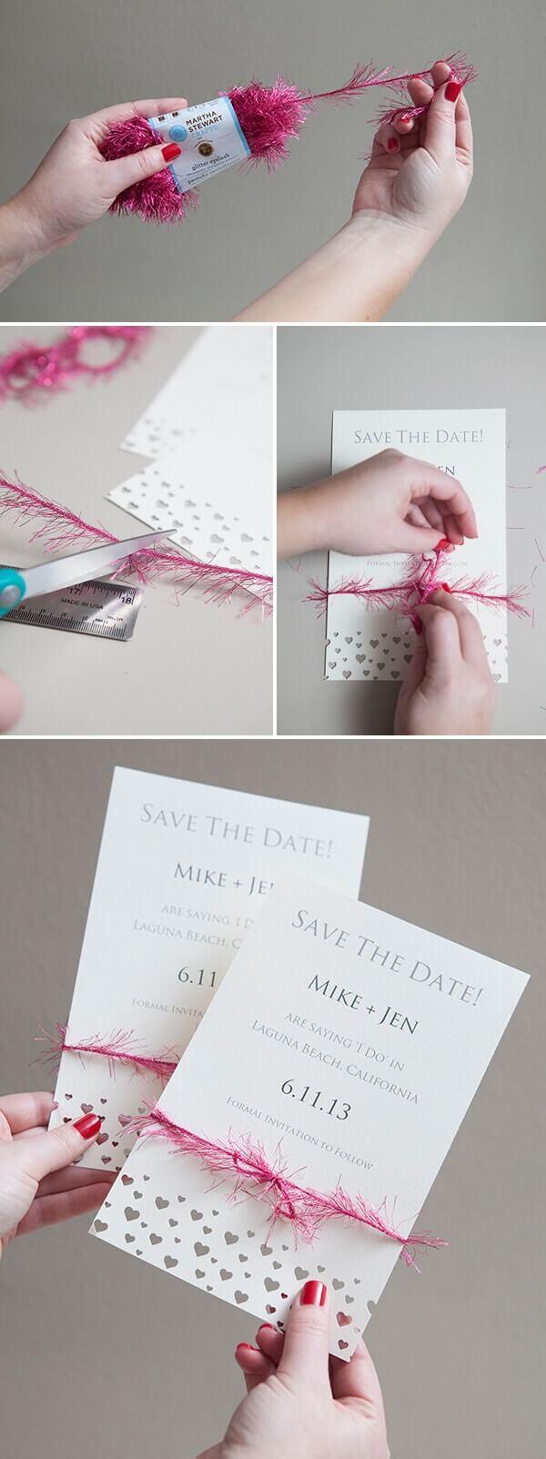DIY Bastelideen zur Hochzeit - elegante Einladung mit pinket Schleife