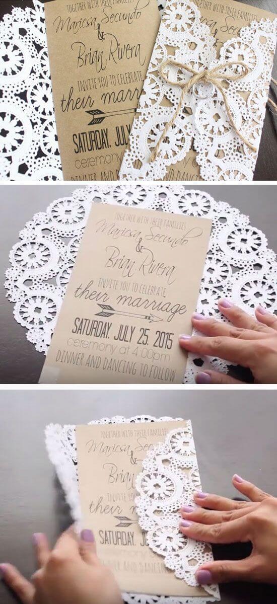 DIY rustikale Einladungskarten mit Spitze