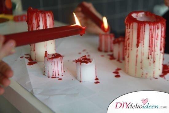 Blutende Kerzen selber basteln - DIY Bastelideen zu Halloween
