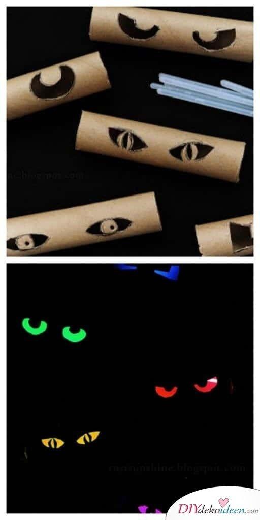 leuchtende Augen Gartendeko zu Halloween