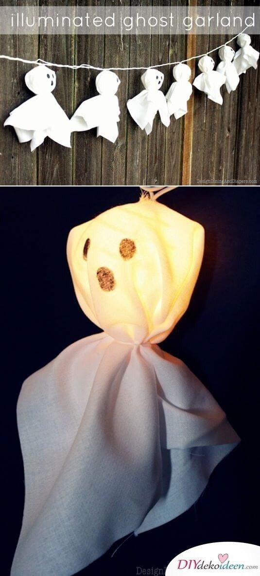 Geistergirlande aus Lichterketten, Süße DIY Halloween Deko