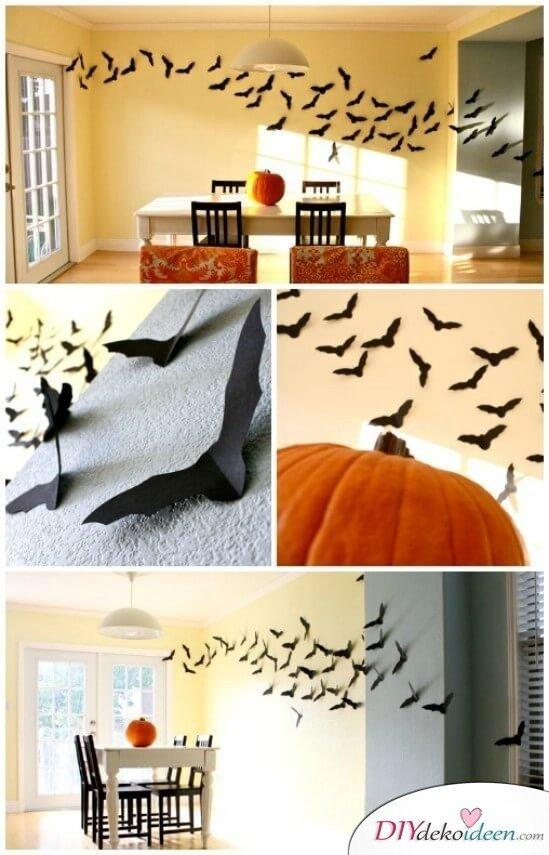Fledermaus Deko zu Halloween - Wanddeko mit Fledermäusen