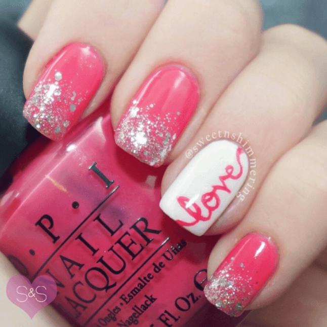 DIY Nageldesign Ideen zum Valentinstag, Nägel bemalen love Pink