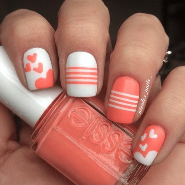 DIY Nageldesign Ideen zum Valentinstag, Nägel bemalen Herz Streifen