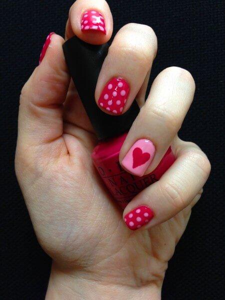 Nägel bemalen Punkte Pink, DIY Nageldesign Ideen zum Valentinstag