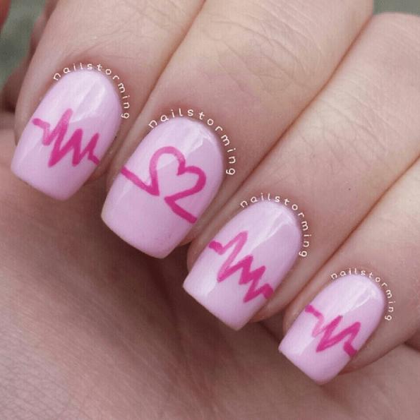 Nägel bemalen Pink Herzschlag-Muster, DIY Nageldesign Ideen zum Valentinstag