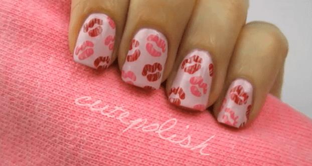 Nägel bemalen Pink Küsse, DIY Nageldesign Ideen zum Valentinstag