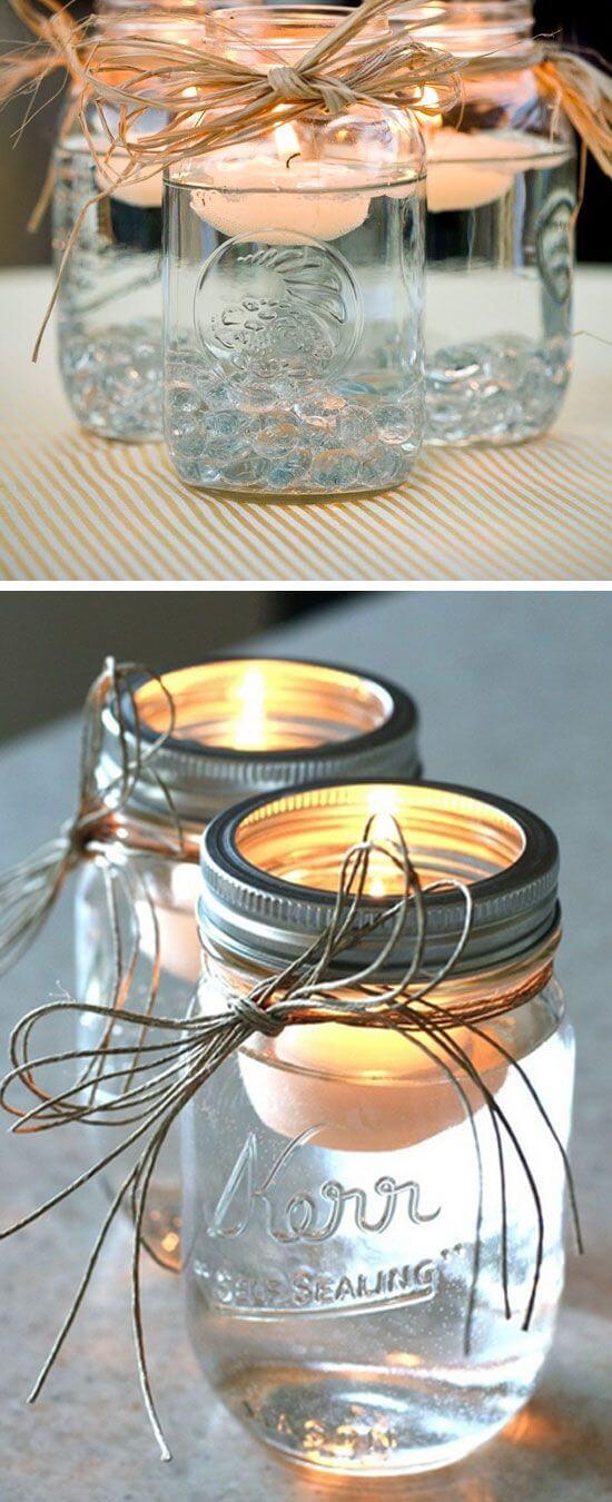 Schwimmende Kerzen Deko mit Naturschnur