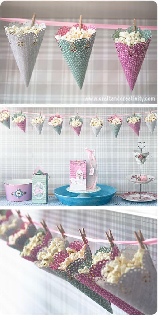 Marvelous Popcorn Party Ideen   Hütchen Aus Papier Basteln