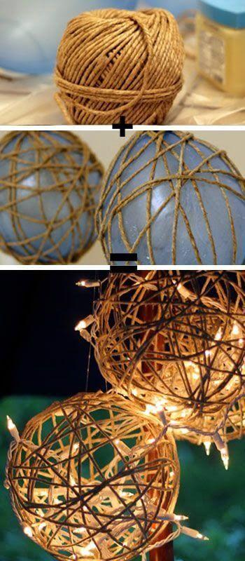 Laternendeko selber basteln aus Schnur und Luftballons