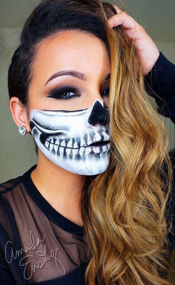 Totenkopf Maske selber malen zu Halloween