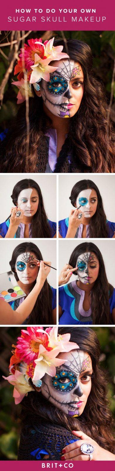 SugarSkull Halloween Makeup - Bunte Blumen