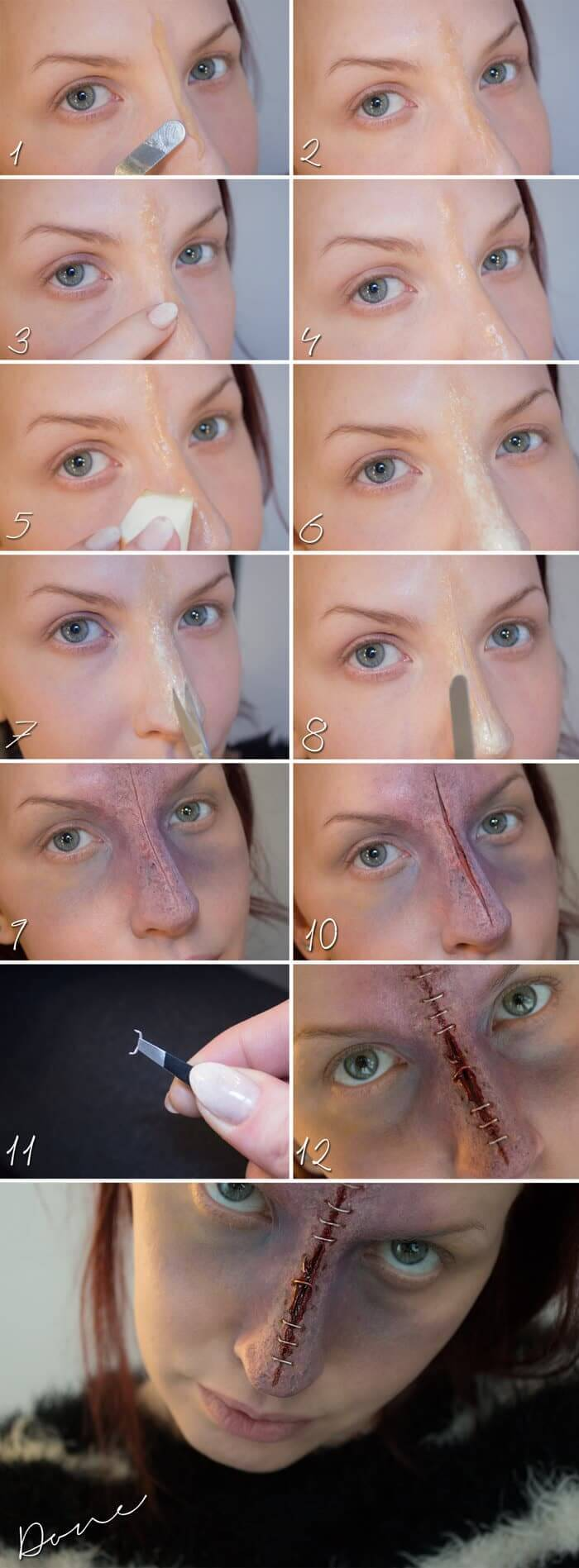 Narbe auf der Nase Makeup selber machen
