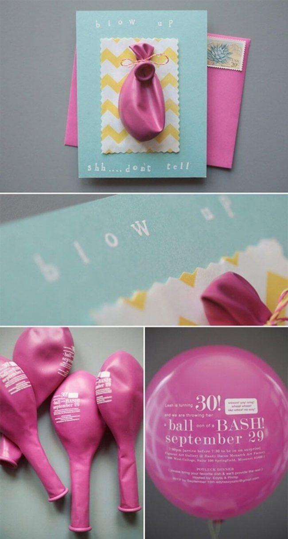 Lustige Einladungskarten selber machen mit Luftballons