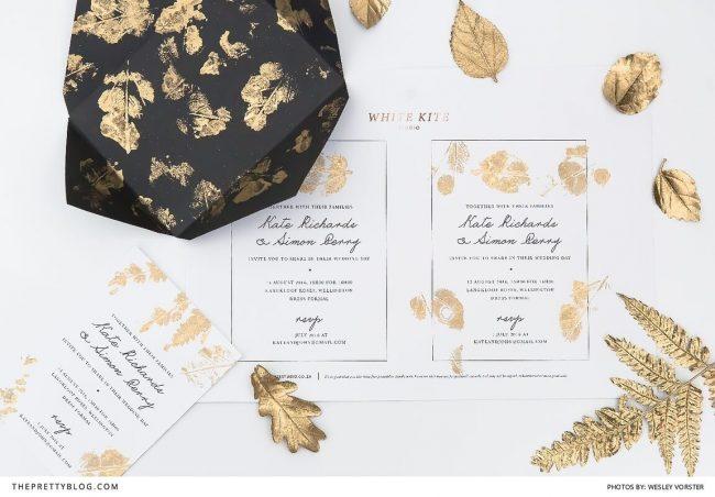 elegangte Einladungskarten zur Hochzeit selber machen, Goldeffekt