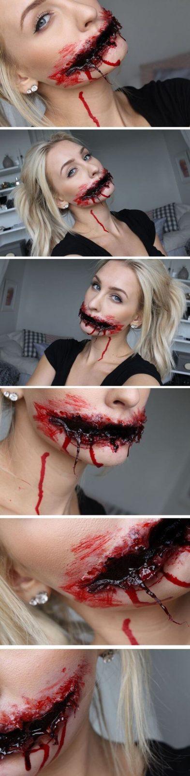 Blutiger Mund Halloween Masken und Makeup-Ideen