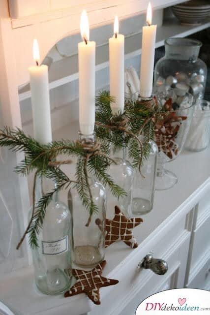 DIY Weihnachtsdeko Bastelideen mit Weinflaschen, Kerzenhalter basteln, Winter-Deko