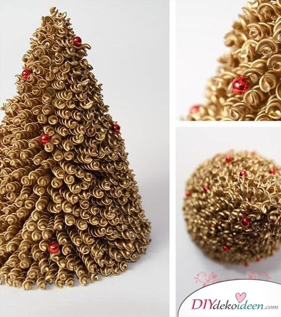DIY Weihnachtsbaum-Bastelideen, Weihnachtsdeko aus Nudeln, Pastabaum