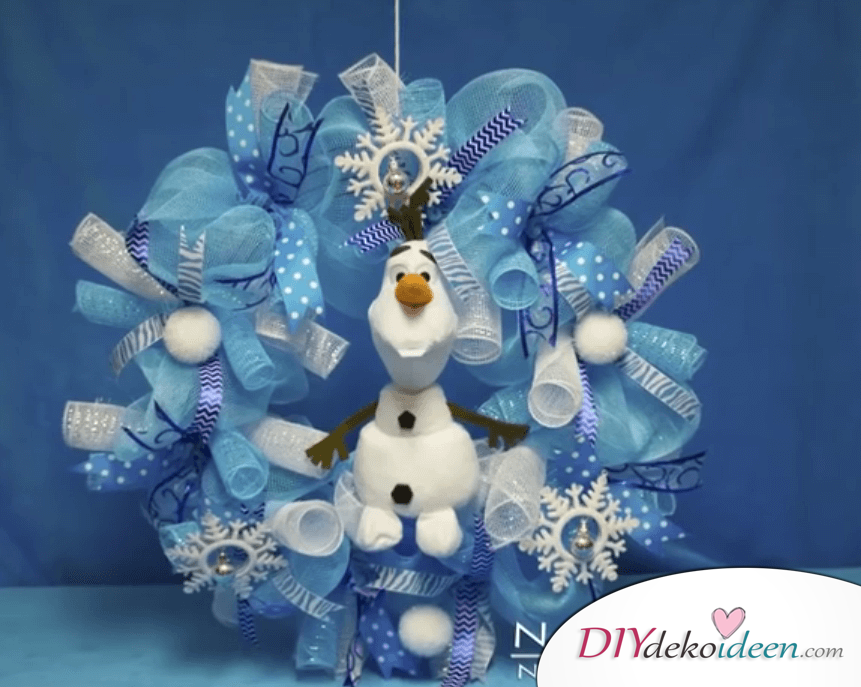 DIY Weihnachtsdeko Ideen, Weihnachtskranz Eiskönigin basteln