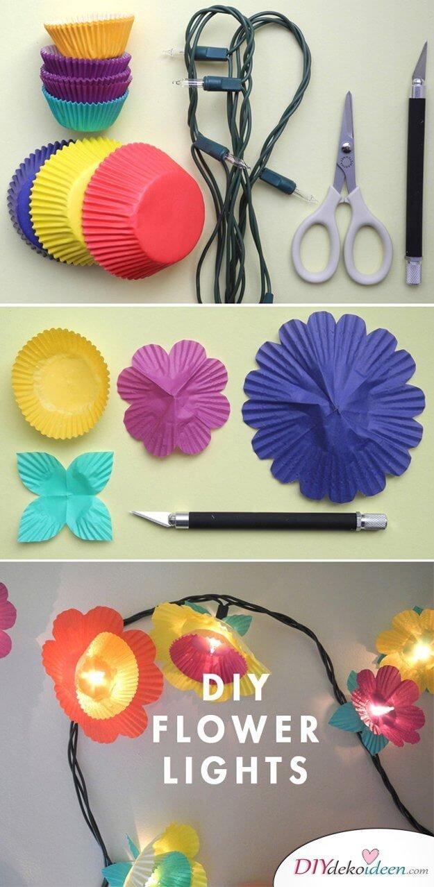 DIY Lichterketten, Blumengirlande basteln