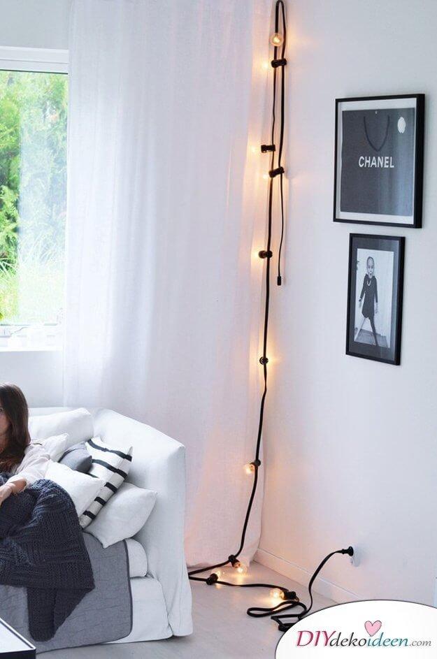Lichterketten-Wohndeko, Minimaler Wonhdesign, Lichterkette senkrecht anbringen