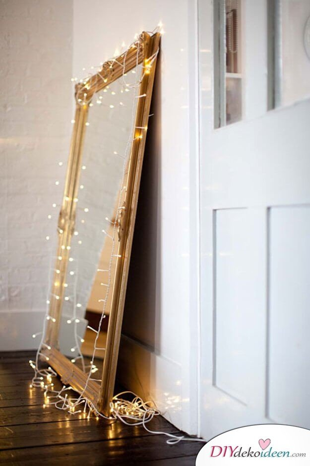 DIY Dekoration mit Lichterketten, Spiegel mit Beleuchtung