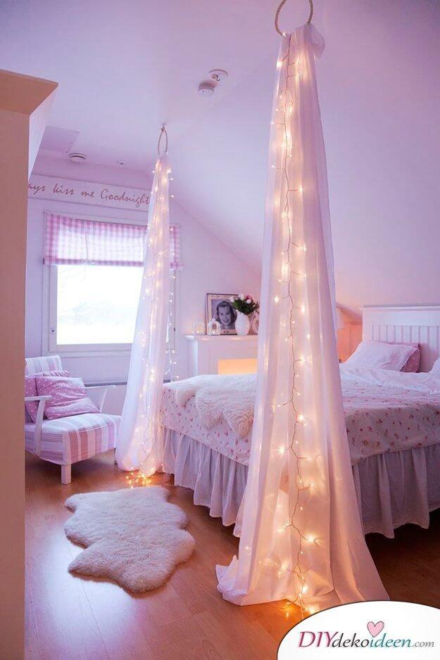 DIY Wohndeko Ideen Mit Lichterketten U2013 Leuchtender Bettpfosten