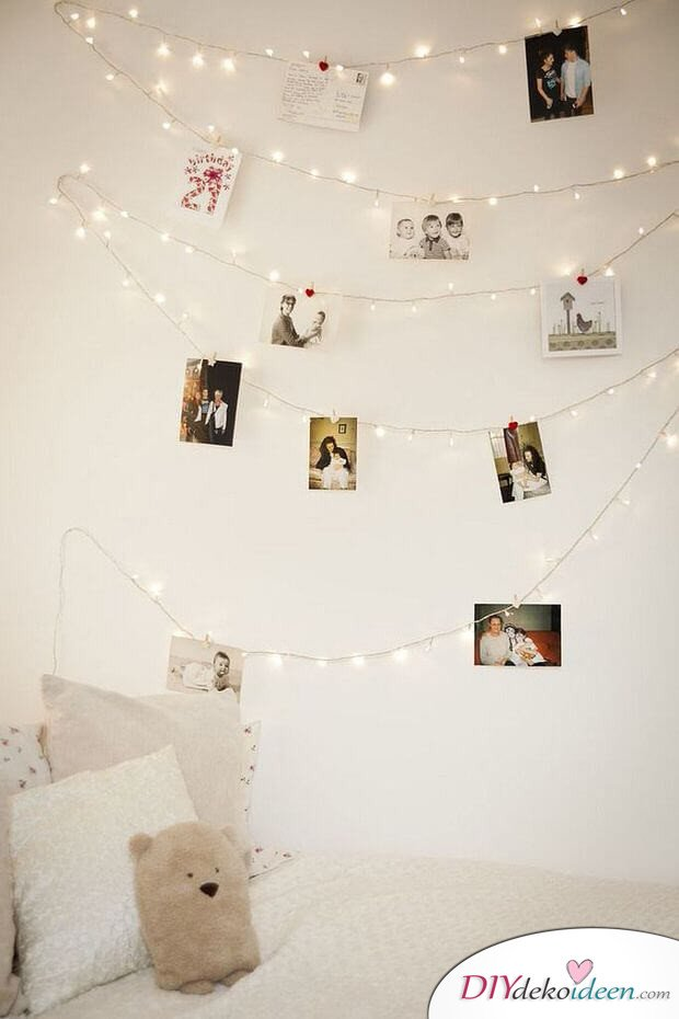 Wanddeko selber machen mit Fotos, DIY Idee Bildern, Bilder an die Wand hängen