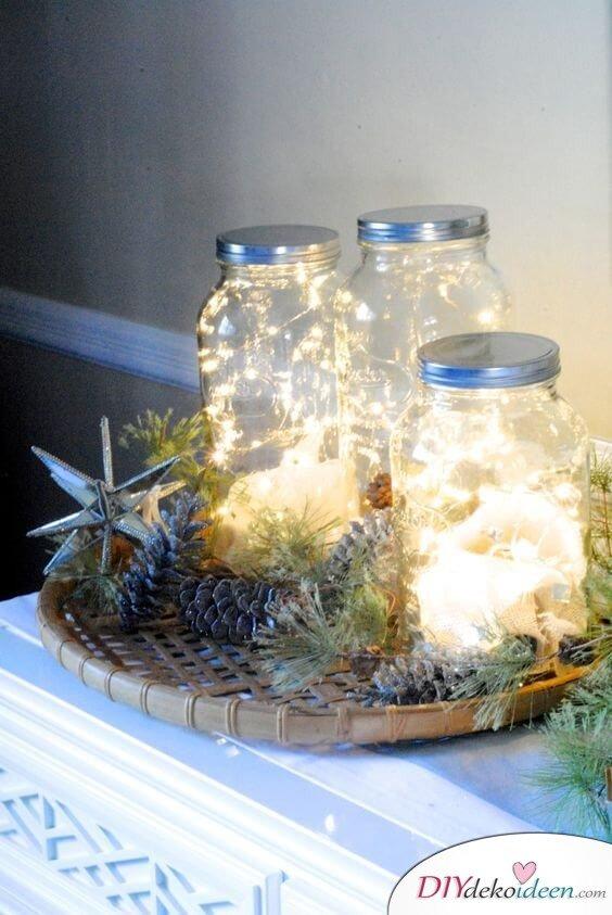 DIY Bastelprojekte - leuchtende Marmeladengläser basteln