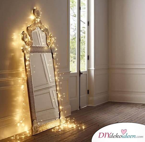 Glänzende Lichterketten-Ideen, Spiegel mit Lichtern