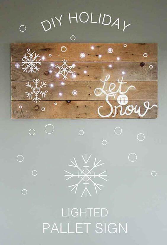 Europalette Deko-Tipps zu Weihnachten, Lichterkette als Bild gestalten, DIY Bastelideen zu Weihnachten mit einer Europalette