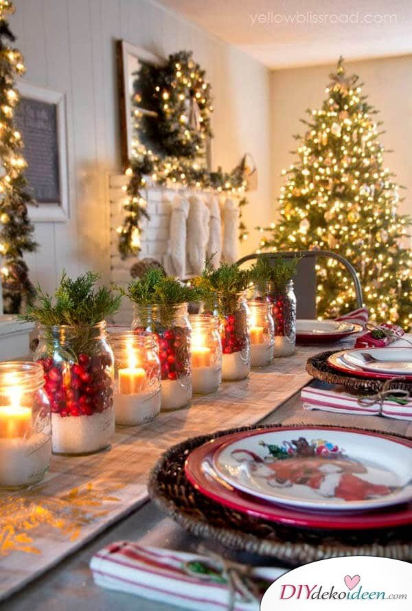 DIY table decor ideas for Christmas, decorate jam glasses with artificial snow and candles