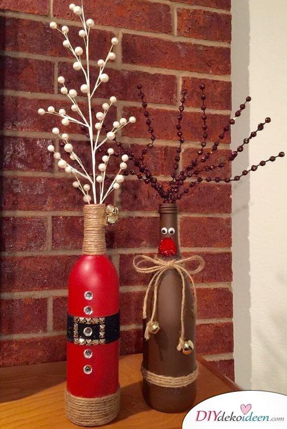 DIY Weihnachtsdeko Bastelideen mit Weinflaschen, Rentier Deko basteln mit Kindern