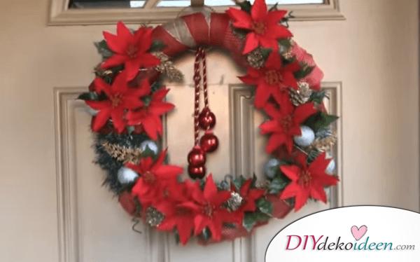 DIY Weihnachtsdeko Ideen, Weihnachtskranz mit Weihnachtssternen