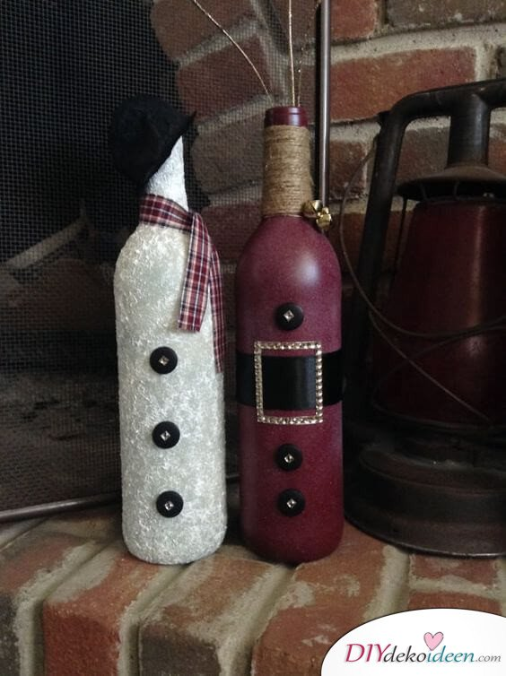 DIY Weihnachtsdeko Bastelideen mit Weinflaschen, Lila-Weiß Deko