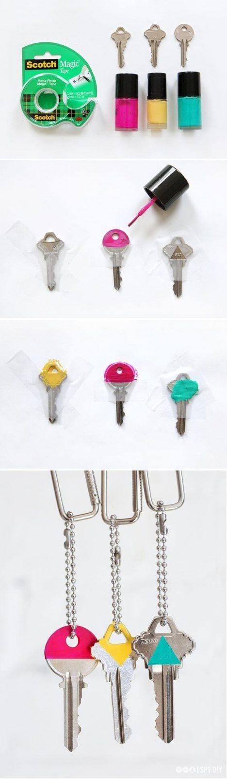 Deko Ideen und DIY Wohnaccessoires zum Selbermachen, Schlüssel mit Nagellack markieren