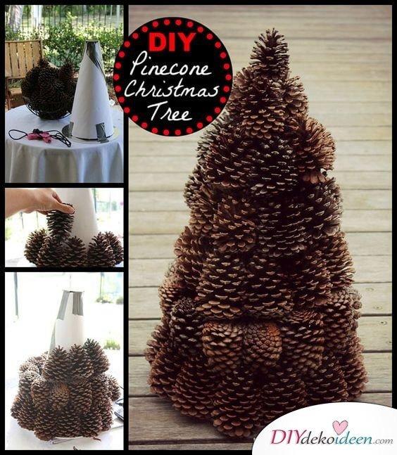 DIY Weihnachtsbaum-Bastelideen, Weihnachtsdeko mit Tannenzapfen