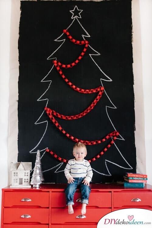 DIY Weihnachtsbaum-Bastelideen, mit Kreide einen Weihnachtsbaum malen